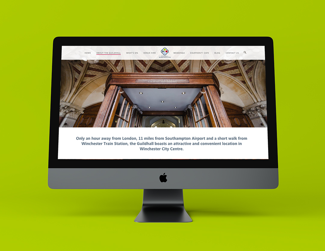 imac showcasing the guildhall's about page