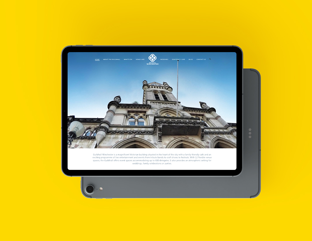 ipad of guildhall's homepage