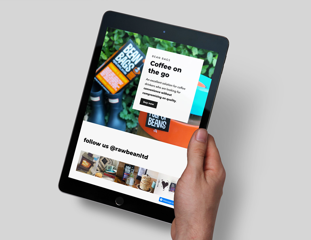 An ipad showcasing the rawbean website