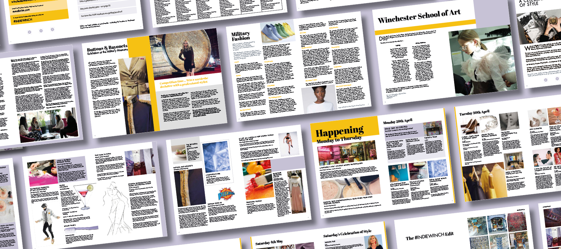 A collection of the spreads in the magazine