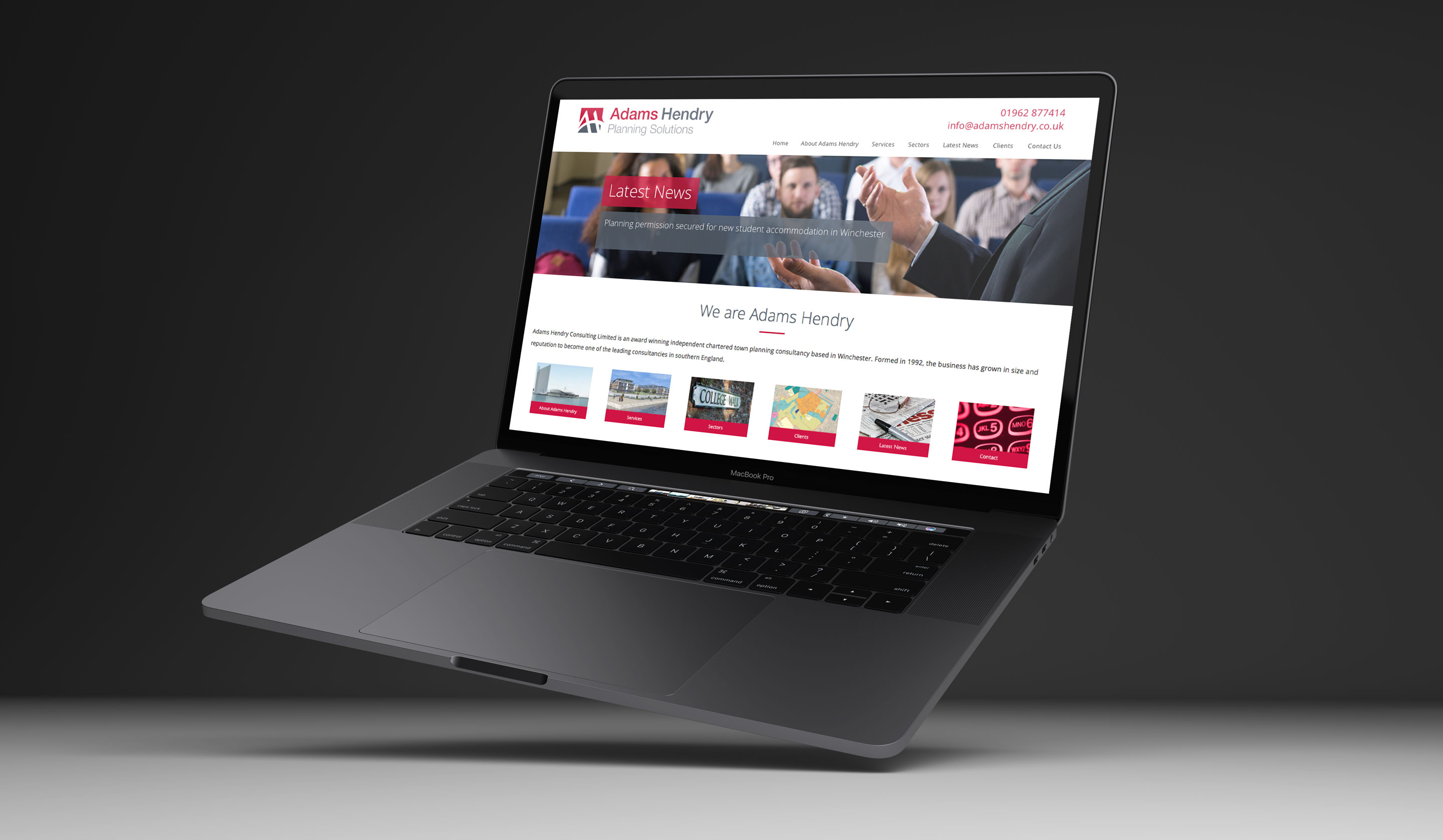 The responsive website on a laptop