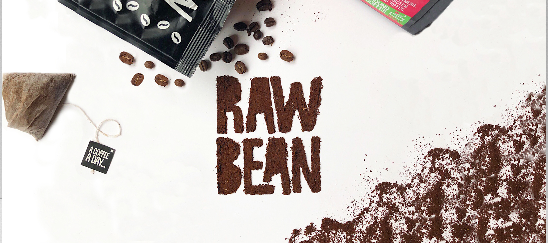 The rawbean logo made out of coffee