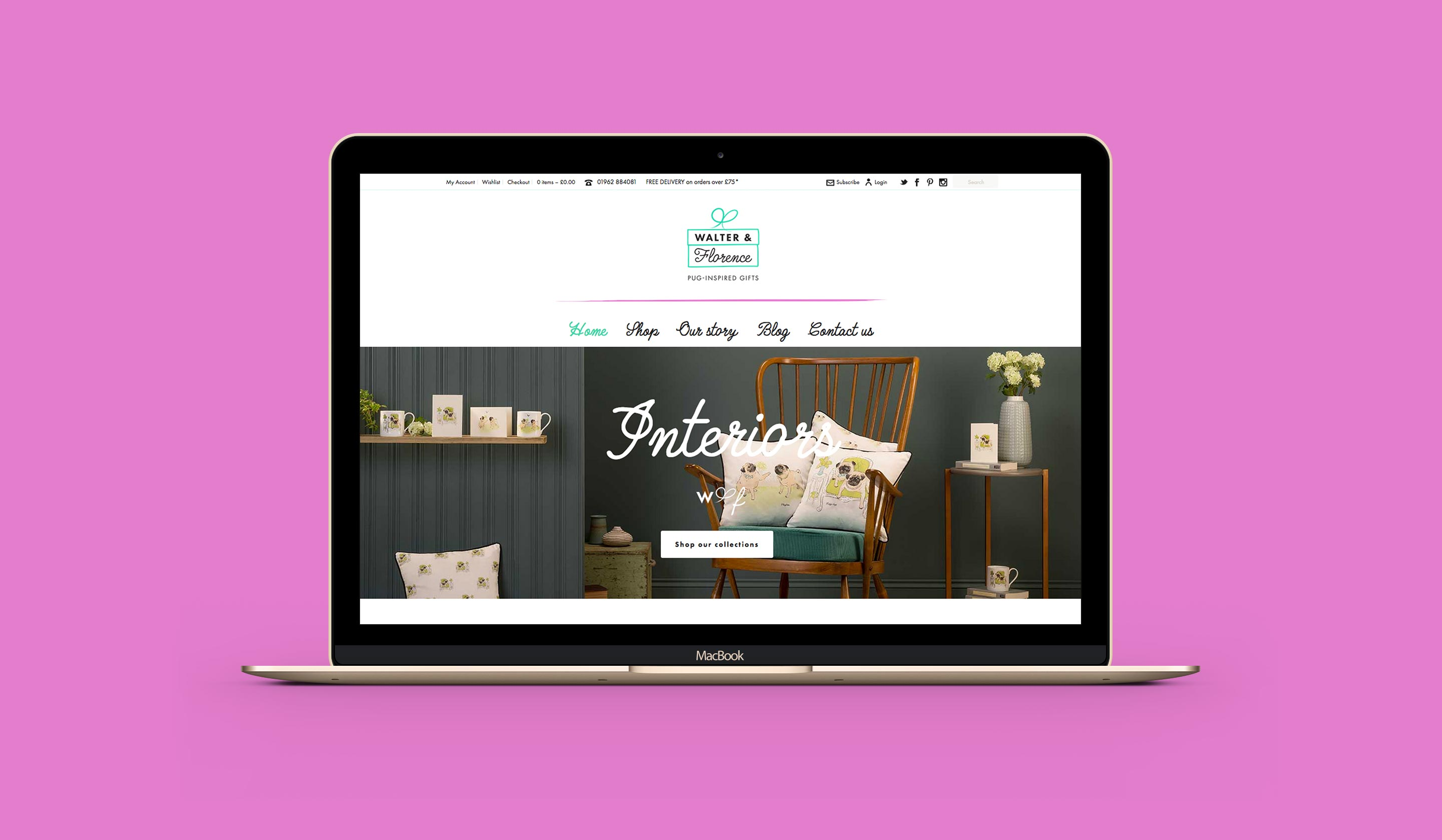 The Walter & Florence website on a laptop